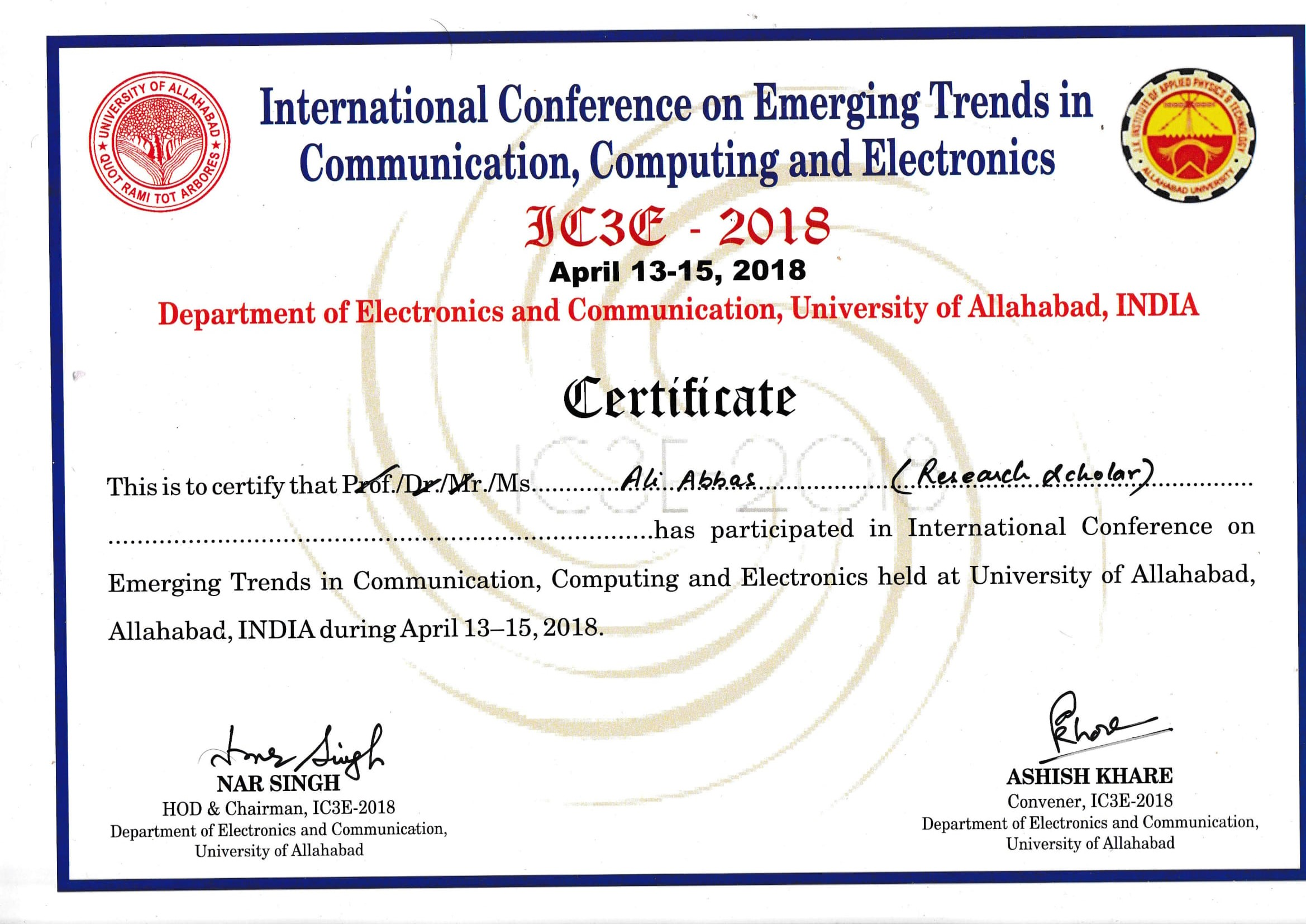 International Conference on Emerging Trends in Communication, Computing and Electronics